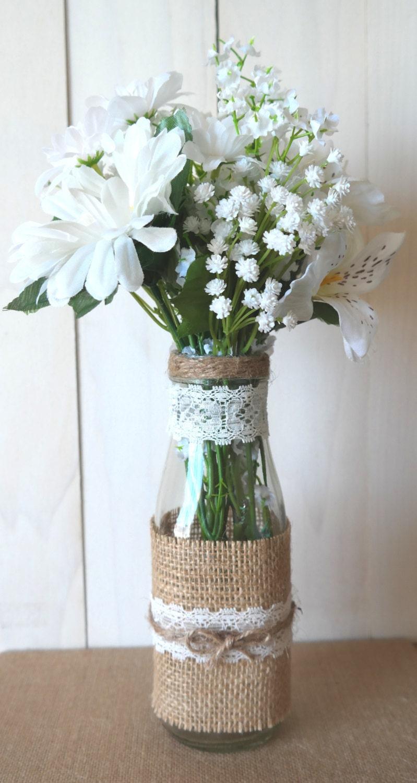 Rustic burlap and lace mason glass vase candle lanterns