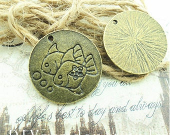 lead and nickel free---100pcs 21mm antiqued bronze/silver round Double fish zinc alloy charms findings