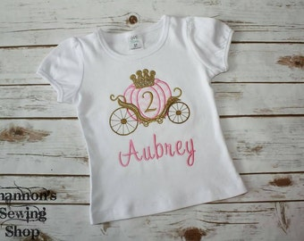 Princess Birthday Shirt - Princess Birthday - Pink and Gold Birthday - Princess Carraige Birthday Shirt - Monogrammed Carraige Shirt