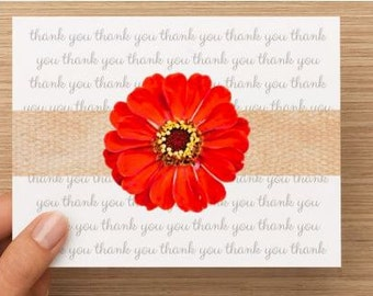 Thank you cards: Personally photographed and designed card with red flower, package of 10.