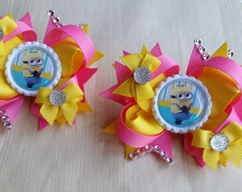 Minion hair bows. Set of 2. Perfect for piggy tails :)   PINK!
