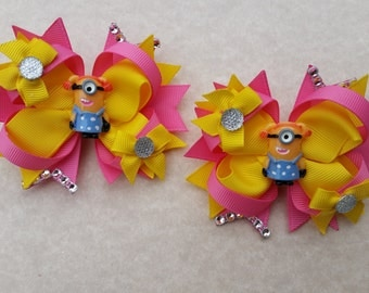 Minions pink & yellow girls hair bows. Set of 2. Perfect for piggy tails :)