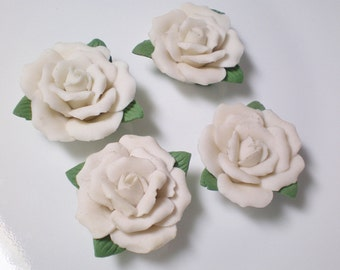 Destash.. 4 White Porcelain Roses about 28-30 mm with holes through center