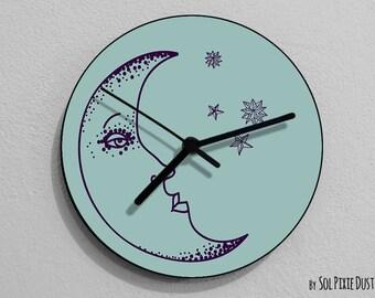 Moon Wall Clock - Kids Nursery Room, Teens Room, Baby Room  - Wall Clock