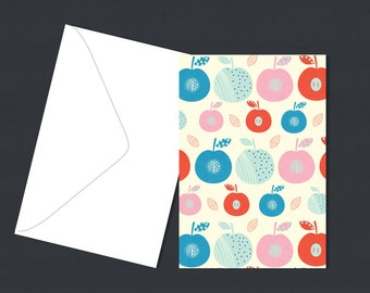 Single Greeting Card for any occasion - Apple Illustration - A6