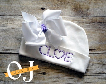 Personalized Name Baby Newborn Hat - Infant Hospital Hat - embroidered - Newborn Hat - Newborn Hat with White Bow - Girl- Light Purple Heart