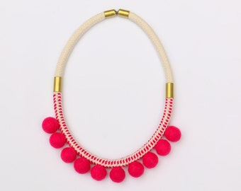 Pink pompom rope necklace, pink pom pom fabric rope necklace, fabric bohemian pompom rope necklace pink, boho statement necklace