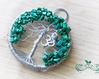Malachite Gemstones, Wire Wrapped, Tree of Life Pendant, Silver Wire, OM sign ॐ, handmade pendant, positive vibes,hippie soul,made with love