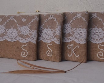 Set of 4/PERSONALIZED / hand sewn/burlap clutch/ Bridesmaid Gift /wedding party /bridal gift idea /express shipping
