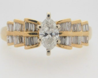 1.63 Carat T.W. Marquise & Baguette Cut Diamond Engagement Ring 14 Yellow Gold