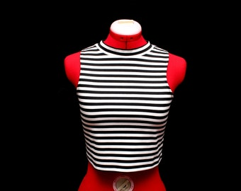 Striped High Neck Halter Top - Handmade Crop Top For Any Occasion!
