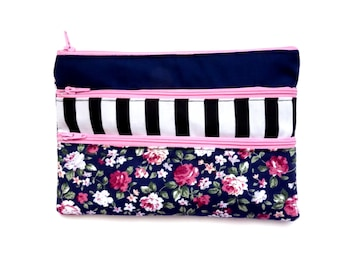 Adorable Floral Pencil case/ Makeup Bag With Three Pockets and Pink Zippers 20.7cm x 14.4cm