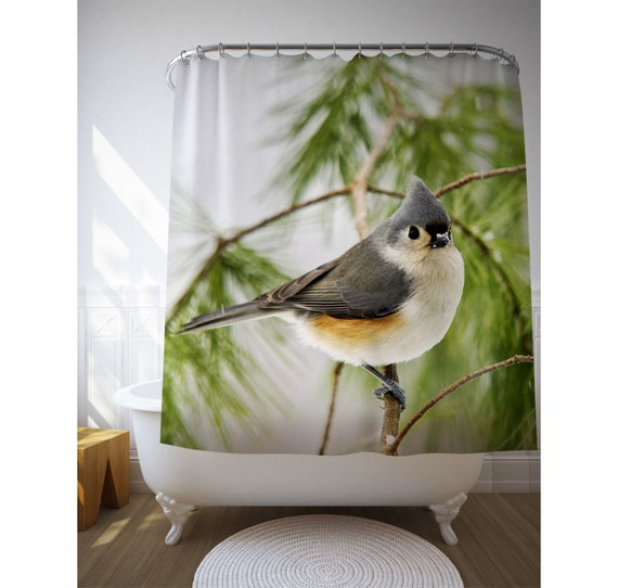 Bird shower curtain green bathroom decor nature photography bath