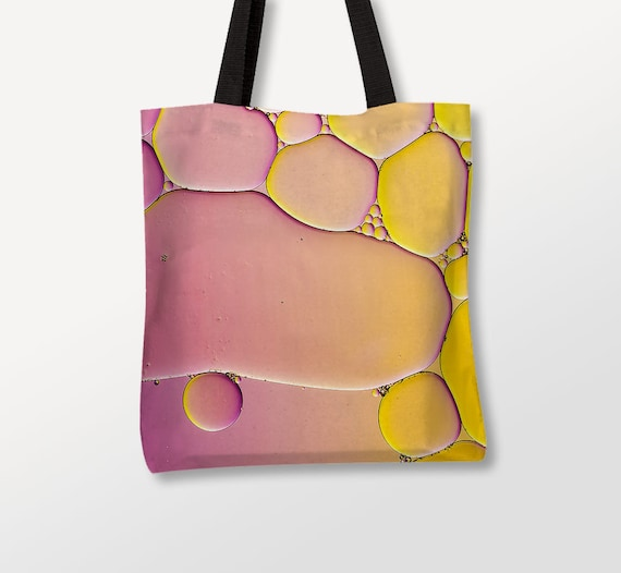 Bubbles Bag, Pink Yellow Tote, Abstract Photography, Black Straps