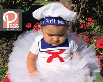 Marshmallow Tutu, Stay Puft Marshmallow costume, White tutu, Baby Sailor outfit, Halloween GhostBusters, Ghostbusters Girls costume
