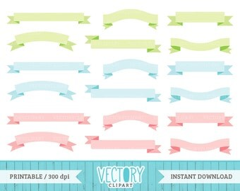 18 Ribbon Banners in Pastel Colors, Cute Commercial Free Banner Clip Art, Pastel Text Frames, Pastel Ribbons, Ribbon Labels by Vectory