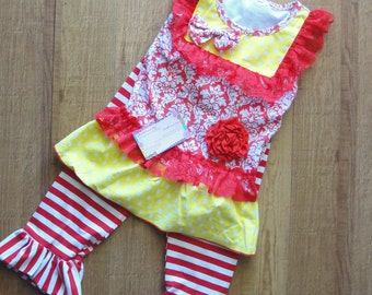 Boutique Outfit, Girls Outfit, Ruffle Pant Outfit, Red Outfit, Yellow Outfit, Sleeveless RTS, Lace Outfit, Girls, 4/5, Pant Outfit, 4, 5