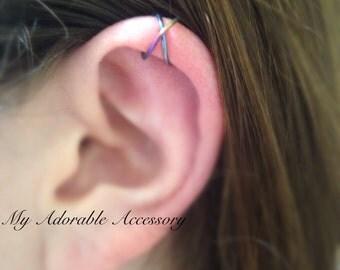 Niobium wire Cross Upper Cartilage Ear Cuff