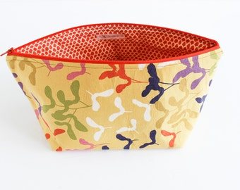 Standing Cosmetic Bag | Large Make-up Bag in Piper Airplane Print in Mustard | s/f Designs