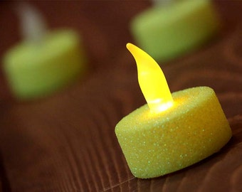 Yellow Glittered LED Tea Light Candles (Set of 3 candles + 3 extra batteries) - Battery Candles - Neon - Birthday - Shower - Party Supplies