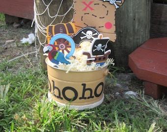 YoHoHo Pirate Pail Centerpiece Pirate Birthday Pirate Baby Shower Birthday Centerpiece Baby Shower Centerpiece