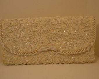 NEW SALE PRICE  Beautiful White Beaded Envelope Clutch, La Regale, White Silk- Wonderful for formal or wedding!pp494