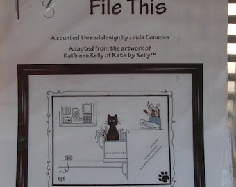 File This Counted Cross Stitch Kit - Kats by Kelly