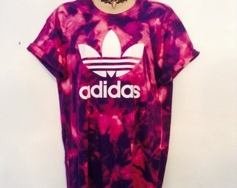 Unique complete one off  acid wash tie dye adidas tshirt urban swag festival