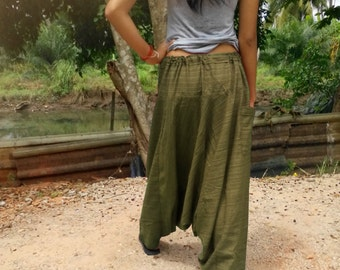 Ladies Baggy Pants  Yoga Harem Pants  Good Quality Cotton  Made to Fade Olive green stripe.