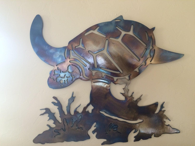 Underwater Sea Turtle Metal Wall Art Decor By