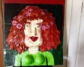 """3D mixed media wall art entitled """"Freckled Face"""""""