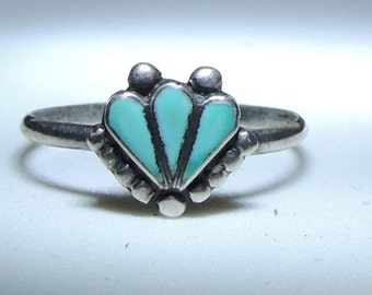 Zuni Sterling Silver Turquoise Inlay Ring Size 6 1/2