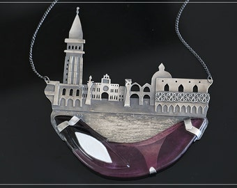 Morning in Venice - a necklace made of silver and glass