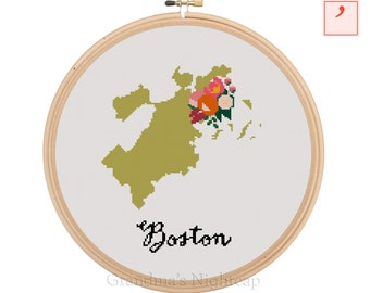 Boston Cross Stitch Pattern Modern Cross Stitch Pattern City Cross Stitch Pattern Boston Art Boston City Art Boston Pattern Floral Cross
