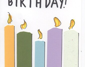 Handmade happy birthday card with candles