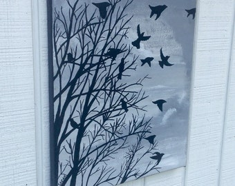 Black and White Tree with Birds 11x14