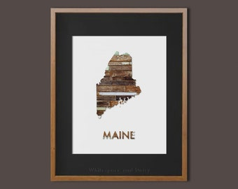 Maine State Art Printable Maine Art Printable State Wall Art Printable State Map Printable Home Wall Art Faux Wood Wall Art Printable Gift