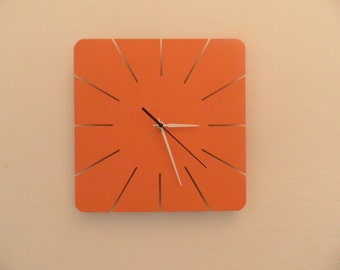 Wall clock, orange wall cloc, white wall clock, modern wall clock, wooden wall clock, special wall clock, quiet clkockwork,
