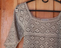 Crocheted Lace Tunic Top Vintage Mexican Southwestern Fred Leighton