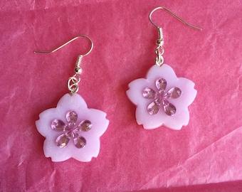 Pretty sakura drop earrings with gem embellishment