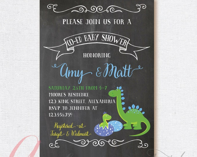 Dinosaur Baby Shower Invitation. Coed babyshower. Dino babyshower invite. Couples babyshower. Dinosaurs babyshower invite. Printable