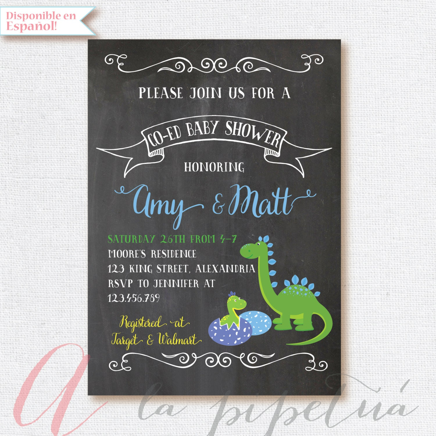 dinosaur baby shower invitation coed babyshower dino