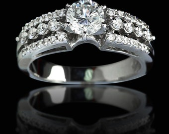 1.25 ct Brilliant Round Cut Diamond Engagement Ring With Accents - BAJ-109
