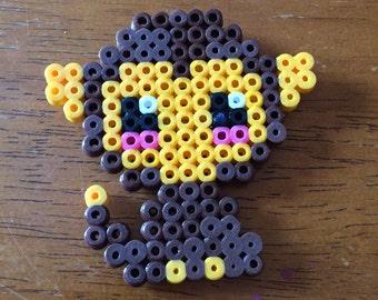 Monkey Perler Bead Magnet