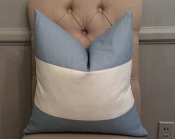 SALE! Handmade Decorative Pillow Cover - Premier Prints - Cabana Cashmere Blue - Light Blue - Wide Stripe