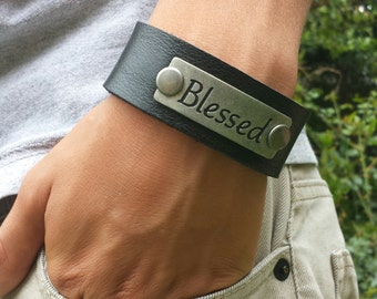 FREE SHIPPING-Men's Bracelet, Men's Leather Bracelet, Blessed Black Leather Cuff, Men's Plaque Bangle, Cuff Bracelet For Men