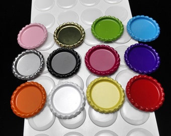50 Colored Bottle Cap Kit - 50pcs Flattened Flat Linerless Bottle Caps and 50pcs 1 inch High Quality Clear Round Epoxy Stickers