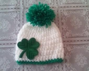Men's St Patrick's  hat, men's hat, crochet mans  hat, girl st patrick hat, beanie hat, crochet beanie hat, mens beanie hat, ready to ship