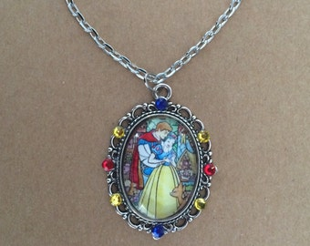Stained glass Snow White cameo necklace, Disney cameo necklace