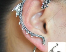 Game of thrones, right ear dragon stud ear cuff, tail pass through the ear, wrap earring.